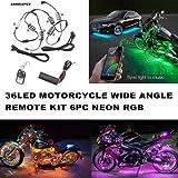 Auto Motorrad Unterbodenbeleuchtung 6 Streifen 18-farbige RGB LED Beleuchtung sundgesteuerte Neonlicht-Kit mit 1 Fernbedienung