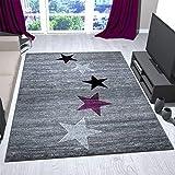 VIMODA Teppich Modern Design Grau Lila Schwarz Weiß Jugendzimmer Kurzflor Stern Muster - Pflegeleicht und Top Qualität, Maße:200x290 cm