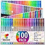 Zenacolor 100 Gelschreiber Gelstifte Set mit Etui - Extra großes Set – 100 einzigartige Farben (keine Duplikate) – mit hochwertiger leicht fließender Tinte - toll für Malbuch für Erwachsene