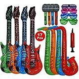 Woo Well 17 stück große größe buntes aufblasbare instrumente spielzeug,enthält: 4 x aufblasbare gitarre / luft gitarre (93cm),4 × aufblasbares saxophon (70cm),4 × aufblasbares mikrofon (35cm),4 × shutter shading gläser,1 x manuelle luftpumpe.hergestellt aus hochwertigem pvc,robust und langlebig,geschmacklos.aufblasbare prop eignen sich für Feiertagsdekorationen,Festival Geschenke/weihnachtsgeschenke,partyrequisiten und kinderspielzeug.bring mehr freude für dich !