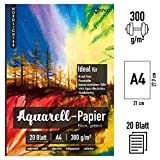 Watercolor Paper/Aquarellpapier als Malblock für Aquarell mit zwei Strukturen [ DIN A4 300g 20 Blatt ] geleimt in Natur weiß - geeignet für Pinselstifte/Brush Pens
