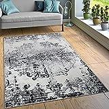 Designer Teppich Wohnzimmer Teppiche Ornamente Vintage Optik Schwarz Weiß, Grösse:160x220 cm