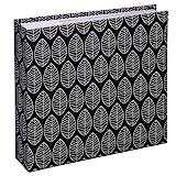 Hama Einsteck-Fotoalbum La Fleur (Memo-Album mit 100 Seiten, zum Einstecken von 200 Fotos im Format 10x15, Blätter-Muster,  CD-Tasche, 22,5x22,5) XXL Einsteckalbum Fotobuch schwarz