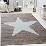 Designer Teppich Stern Muster Modern Trendig Kurzflor Meliert In Braun Beige, Grösse:160x220 cm