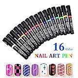Nagellack Stift,16 Farben Nagel Kunst Feder Nageldesign Stift DIY für Nail Art Salon Beauty