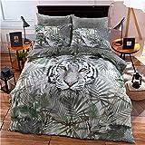 WKDR-Bettbezug-Sets mit Tieraufdrucken, Kissenbezüge, Polycotton-Bettwäsche., Polycotton, weißer tiger, Doppelbett