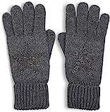 styleBREAKER warme Handschuhe mit Strass Nieten Stern Applikation und doppeltem Bund, Strickhandschuhe, Damen 09010008, Farbe:Grau