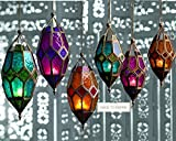 Authentic Moroccan Tonal Glass Hanging Lantern Tealight Holder (Small Green) by SupremeBuy