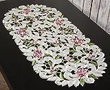Kleine Deckchen und Läufer in verschiedenen Größen, Design Rosen, Farbe creme bunt (35 x 70 cm oval)