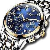 FOVICN Herren Uhr Analog Quarz mit Edelstahl Armband L9810