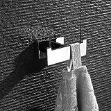 HomeT Bademantelhaken Doppelt Verchromt Massives SUS 304 Edelstahl Hochglanzpoliert, Stilvoll zur Wandmontage Handtuchhaken , Chrom