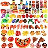 Estela Küchenspielzeug, Joylink 139 Teile Plastik Essen Obst Gemüse Ebensmittel Pädagogisches Lernen Küchen Set Play Kinder Rollenspiele Spielzeug, Food