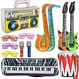 TOPHOPE 13 STÜCKE Inflatables Gitarre Saxophon Mikrofon Boom Box Musikinstrumente Zubehör Für Party Supplies Party Favors Ballons Aufblasbare Rockstar Set Zufällige Farbe