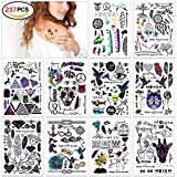 Temporäre Klebe Tattoos Flash Tattoos temporär Tätowierung Körperkunst Aufkleber Tattoos Sticker Körper Schmuck für Urlaub Geschenk Mädchen und junge Frauen (10 fogli)