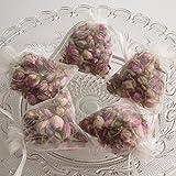 5 Duftkissen - Duftsäckchen mit angenehmen Rosenduft und parfümierten rosa Rosenknospen und Rosenblättern in trasparenten Organzasäckchen Schrankduft (5 Stück)