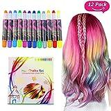 Buluri Haarkreide Non-Toxic 12 Farbe Natürliche Haare Kreide Stifte Temporäre Haarfarbe für Mädchen, Perfektes Geschenk für Weihnachten & Geburtstag