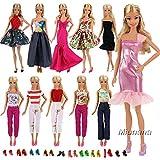 Miunana Fashion 5 Partymoden Urlaubstag Kleidung Kleider Outfit mit 10 Paar Schuhen für Barbie Puppen Doll