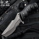 HX OUTDOORS Premium Qualität Überlebensmesser,Professionell Tactical messer, Outdoor Survival Messer, Jagdmesser,440C Edelstahl,G10 Rutsch-Griff (Seal)