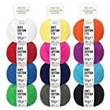 100% Baumwolle Bunter Mix - 600g (12 x 50g) - Oeko-Tex Standard 100 zertifizierte Wolle zum Stricken & Häkeln - Baumwollgarn Set in 12 Farben by Fairwool