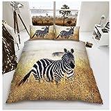 Gaveno Cavailia 3D Wildlife Zebra Bettwäsche-Set mit Bettbezug und Kissen Fall, Polycotton 50% Baumwolle, 50% Polyester, Multi, Einzelbett
