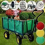 Jago Bollerwagen | bis 550 kg belastbar, Farbwahl, klappbare Seitenwände, herausnehmbare Plane, Luftreifen | Gartenwagen, Gartenkarre, Handwagen