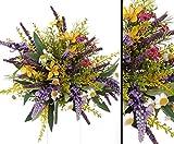 Kunstblumenstrauß aus Lavendel und Wiesenblumen gemischt, Gesamthöhe inkl. Stiel ca. 20cm - Blumenstrauss Kunstblume Wiese Blumendeko