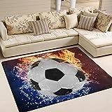 Naanle Fußball Rutschfeste Bereich Teppich für Living Eßzimmer Schlafzimmer Küche, 50x 80cm (1,7'X 2,6' ft), Sport Kinderzimmer Teppich Boden Teppich Yoga Matte, Multi, 150 x 200 cm(5' x 7')