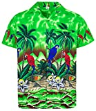 Funky Hawaiihemd, Kurzarm, Papagei, grün, M