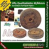 100 St. Jiffy von GREEN24 Original Quell-Tabletten Torf-Quelltöpfe 44mm Aussaaterde Anzuchterde Torftablette mit Anleitung