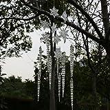 ToBeIT Weihnachtsdeko 10 Stücke Schneeflocken und 10 Stücke Eiszapfen Weihnachtsbaum Anhänger -Christbaumschmuck kunststoff eiszapfen und schneeflocken aus Acryl (Länge 176)