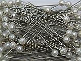 Perkopf- Decon. 4 mmØ x 40mm 150 Stück Perlen-Nadeln Deko-Nadeln Perle (weiß)