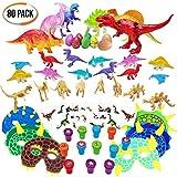 80er Pack Dinosaurier Spielzeug Sortiment - Große Auswahl - Ideal für Geburtstag Party Geschenke Mitgebsel - Piñata - Dinosaurier Themenparties - Kindergeburtstag gastgeschenke, Kinder kleine.