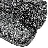 WohnDirect Badezimmerteppich | Badematte zum Set kombinierbar - kuscheliger Hochflor | Rutschfester Badvorleger | WC Garnitur - Waschbarer Badteppich - 45x45cm OHNE WC Ausschnitt | Grau