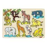 Goki 57829 - Steckpuzzle - afrikanische Tierkinder 9 Stück