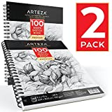 Arteza Sketchbook — Skizzenbuch mit Spiralbindung — Weißes Din A4 Zeichenpapier — 100 Blätter Pro Zeichenblock 2er-Set