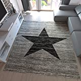 Jugend Teppich Wohnzimmer Stern Muster Meliert Rot. Schwarz, Beige Grau Pflegeleicht - Teppich-Home, Farbe:Grau, Maße:160x220 cm