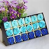 18 PCS Duft Rose Petal Bath Seife in Geschenkbox für Valentinstag Muttertag Jahrestag Geburtstag (Blau) - Gearmax