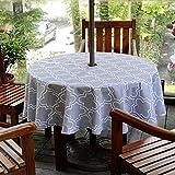 Do4U wasserdichte Tischdecke Innen/Outdoor Tischdecke mit Sonnenschirm Loch Reißverschluss und Regenschirm Loch (60' rund, grau)