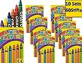 10 Set x6 Wachsmalstifte crayons Wachsmalkreide für Kinderparty Hochzeit Kindergeburtstag Geschenk bunte Farben