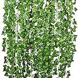 Efeu Künstlich Efeu Hängend girlande - YQing 12 Stück Efeugirlande Künstlich 84 Ft Künstliches Efeu Hochzeit für Büro, Küche, Garten, Party Wanddekoration