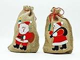 4x Jute Sack Nikolaus Geschenk Sack Beutel Jutebeutel je 20 x 29 cm Geschenksack Jutesack Weihnachtsmann Weihnachten 4 Stück im Set