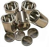 5 Brennstoff-Dosen aus Weißblech / Wieder befüllbar / Je 0,25 Liter Volumen - Mit Deckel, leer / Für Gelkamine + Ethanol-Gelkamine