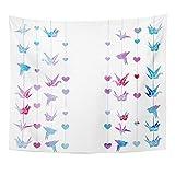 Soefipok Tapisserie-Mandala-Ausgangsdekor-Vogel-Aquarell mit bunten Girlanden der Origami-Kraniche kreative Form-Grafik für Schlafzimmer-Wohnzimmer-Schlafsaal