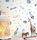 NEWROOM Kindertapete Blau Rakete Ufo Weltraum Papiertapete Metallic Papier Kinderzimmer Babytapete Babytapete Babytapete Kinder