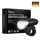 Malker LED Frontlicht Fahrrad StVZO Zugelassen Beleuchtung Wasserdicht,1200mAh Akku Abnehmbar Fahrradlampe Wiederaufladbare