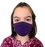 GymStern Stoffmaske Mundbedeckung Behelfsmaske Kinder & Erwachsene Baumwollstoff ÖkoTex waschbar wiederverwendbar in Dunkellila Größe Teenager 16x6 cm