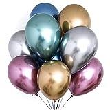 PartyWoo Metallic Luftballon, 50 Stück Luftballons Bunt Satz von Metallic Luftballons in 6 Metallicfarben, Helium Ballons Metallic, Ballons Metallic für Deko Geburtstag, Deko Hochzeit, Vintage Deko
