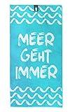 jilda-tex Strandtuch 90x180 cm Badetuch Strandlaken Handtuch 100% Baumwolle Velours Frottier Pflegeleicht (Meer geht Immer)