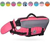 VIVAGLORY Hunde-Schwimmweste Float Coat Wassersport Schwimmhilfe Rettungsweste für Hunde Haustier Mit Griff und Reflektoren, Leuchtend rosa, L