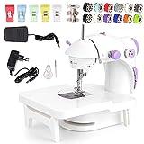 Faburo Nähmaschine Mini Handheld Elektrische Tragbar Nähmaschine mit Verlängerungstisch Fußpedal mit 10 Farben Nähgarn 5 Nähclip für Schneller Nähen DIY Haushalt Nähmaschine